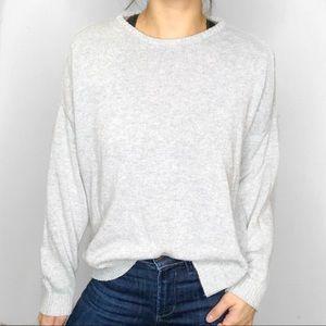 Brandy Melville Light Gray Knit Crewneck Sweater